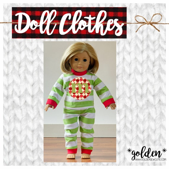 """CYBER MONDAY 2017 SALE!  American Doll, Our Generation Doll, 18"""" Doll Christmas Pajamas, PJs, Xmas, Gift, Custom, Personalized, Initial"""