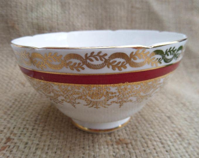 FREE SHIPPING Sugar Bowl, English Bone China, Gladstone China, Crimson Red & Gold, 1939-61, Matching Pieces Available, Immaculate Unused