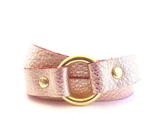 Rose Gold Leather Wrap Bracelet, Leather and Gold Bracelet, Triple Wrap Bracelet, Rose Gold Cuff Bracelet, Leather Circle Bracelet