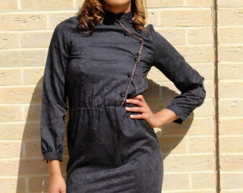 80's Vintage Secretary Dress With Belt  Black Vintage Dress Chic 80's Dress Vintage Black Dress Retro Dress Retro Women's Clothing