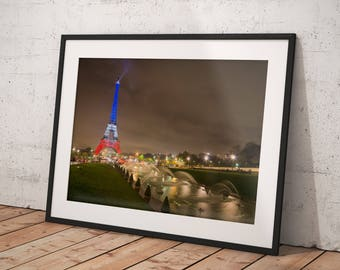 Aerial Paris Photography, Night, Skyline, Eiffel Tower, Wall Art Print, Paris Home Decor, Art Paris, Gift, Lovers, Cityscape, Urban