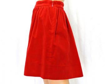 90s corduroy skirt / size 9 / 10 / Ralph Lauren red cord skater skirt / grunge / hip hop