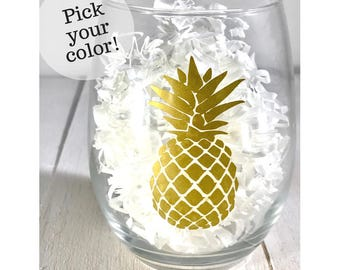 Custom Color Pineapple Wine Glass- Stemless wine glass, pineapple, tropical wine glass, bachelorette favor