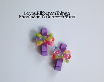 Colorful Bows | Hair Clips for Girls | Toddler Barrette | Kids Hair Accessories | Lavender Grosgrain Ribbon | No Slip Grip