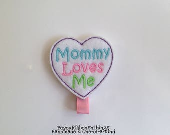 Heart | Mommy Loves Me | Hair Clips for Girls | Toddler Barrette | Baby | Kids Hair Accessories | Felties | No Slip Grip