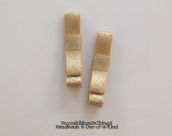 Classic Gold Ribbon | Hair Clips for Girls | Toddler Barrette | Baby Hair Clips | Kids Hair Accessories | No Slip Grip | Christmas