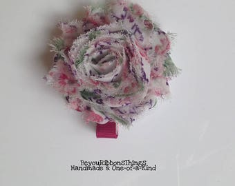 Printed Floral | Shabby Flower | Hair Clips for Girls | Toddler Barrette | Kids Hair Accessories | Grosgrain Ribbon | No Slip Grip