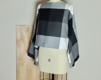 Cotton, flannel, blouse, black, white, gray, long sleeves, easy fit, pullover