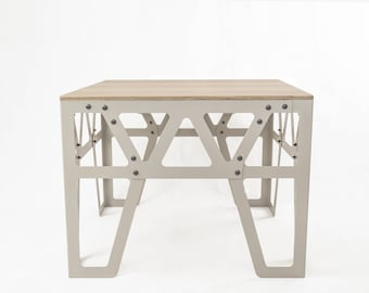 Design Coffee Table, Occasional Table in Perl Beige, Side Table in Metall & Wood, Coffee Table Square, Small Coffee Table, 4 Types of Wood