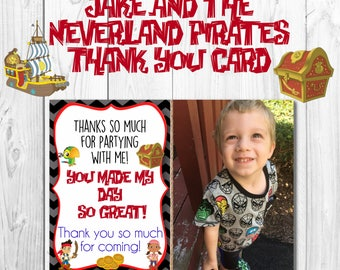 Jake and the Neverland Pirates Thank You Card- Digital Download- Printable- Disney