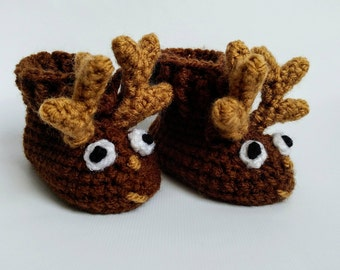 Crochet Pattern Reindeer Baby Booties 0-12 Months House Slippers Instant Download Beyond Fashion