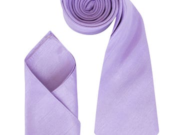 Mens Lilac Lavender Luxury Dupion Neck Tie with matching Pocket Square