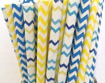 2.85 US Shipping -Blue and yellow Paper Straws - Chevron Paper Straws - Straws - Cake Pop Sticks - Drinking Straws