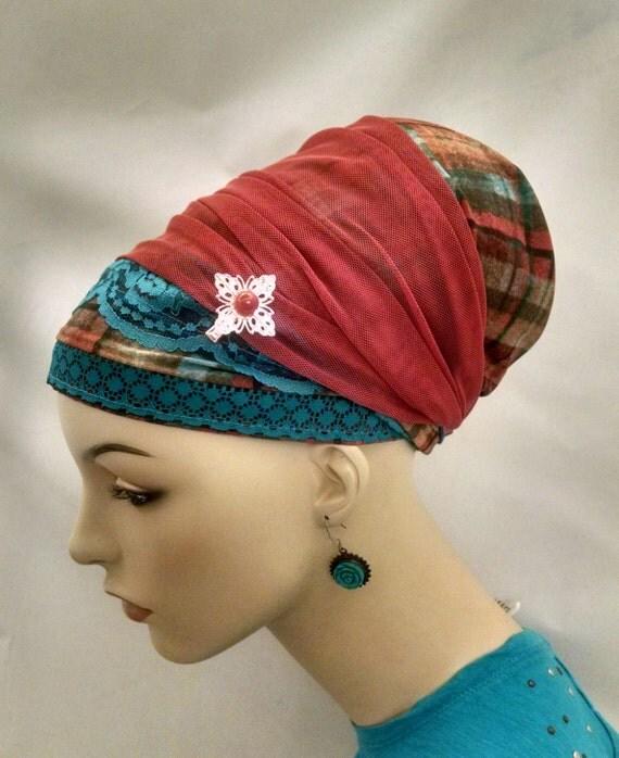 Plaid and lace sinar tichel, tichels, chemo scarves, head scarf, hair snood