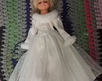 NEW Doll Dress Tonner Magic Attic BFC Ink Ideal Tara Crissy Velvet sparkly glitter princess wedding gown fairy tale faux fur trim 4 ooak dye