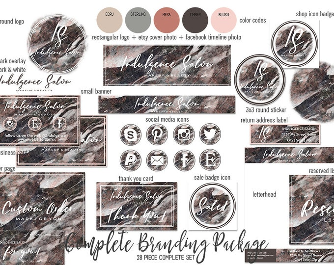 RUSTIC MARBLED WOOD Branding Kit Hand Lettered Font Modern Etsy Shop Set Cover Photo Girl Boss Logo Business Card Social Media Icons Sticker
