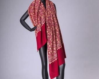 Pashmina Shawl JALI Embroidery Marron Cheena Design