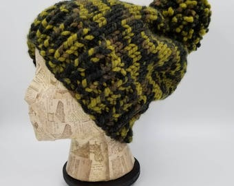 Pom Pom Beanie, Camo Hat, Hat for Women, Hat for Men, Acrylic Hat, Wool Hat, Pom Pom Hat, Chunky Beanie, Bobble Hat, Camouflage