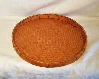 WICKER BASKET TRAY Rattan Handmade Creative Natural Woven Grass Bamboo Round Wall Hanging Plant Mat Serving Bohemian Boho Decor Vintage