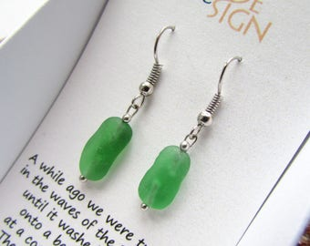 Lime Green Sea Glass Earrings, hypoallergenic, nickel free, made of natural sea glass