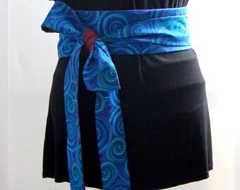 Obi belt fabric spirals japanese belt blue