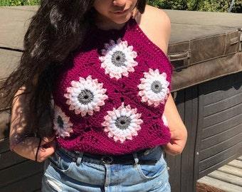 Crochet Floral Crop Top