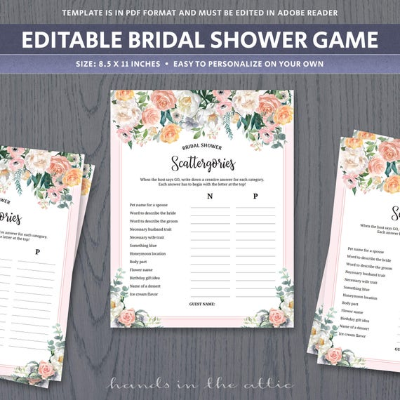 Scattergories game template unique bridal shower games for for Templates for bridal shower games