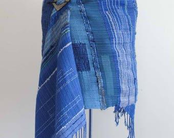 Handwoven, Blue Shawl. Cotton, Alpaca, Sari silk, in many shades of blue