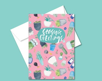 Holiday Greeting Card- Seasons Greetings - Plants and Succulents