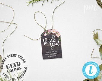 Baby Shower Favor Tags Template, Printable Rustic Floral Thank You Tags, Barn Wood Floral Gift Tags, Instant Download, For Wedding or Shower