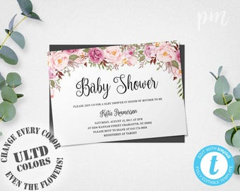 Floral Baby Shower Invitation Template, Floral Baby Shower Templates, Girl Baby  Shower Invites With  Baby Shower Invitation Templates