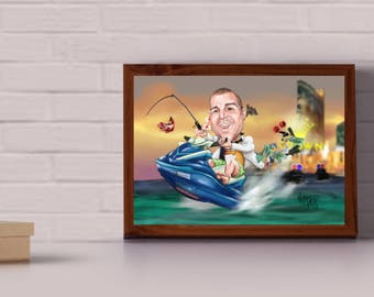 Custom Caricature gift - single person - great retirement or farewell gift - completely personalized to it's recipient
