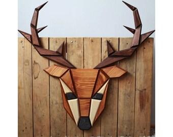 wooden deer wall decor