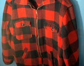Vintage Utica Wool Shirt Zipper Jacket Red and Black Lumberjack Buffalo Plaid Size Men's Med Large