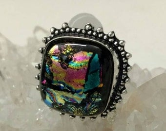 CLEARANCE *Fancy Dichroic Glass Ring Size 8.5