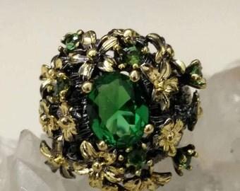 Green Quartz Ring Size 6 1/2