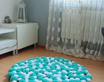 Round Pom Pom Rug, Pompom Area Rug, Bedroom Rug, Bath Rug, Washable Rug, Soft Area Rug, Fluffy Rug, Bathroom Rug, Round Rug, Custom Rug
