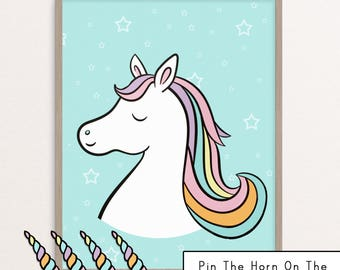 Gargantuan image within pin the horn on the unicorn printable