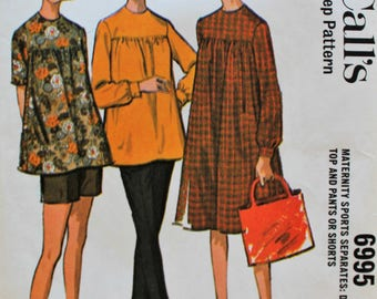 1960s Maternity Pattern - Vintage Dress or Top and Pants or Shorts Sewing Pattern - McCall's 6995 - Bust 38