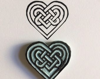 Celtic Knot love heart rubber stamp