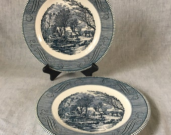 "Vintgage Currier and Ives ""The Old Grist Mill"" Blue Dinner Plates by Royal China, Set of 2"