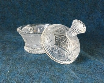 Vintage Cut Glass Crown Shaped Covered Candy Dish