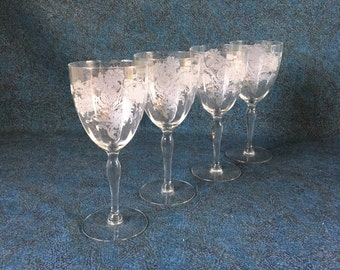 Vintage Etched Thistle Wine Goblets, Set of 4