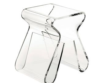 Magino Acrylic Stool and Magazine Rack | Magazine Book Table and Stand | Premium Perspex Acrylic | Manufactured in the UK