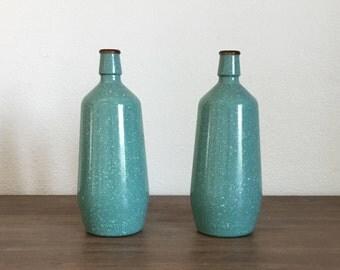 Mid Century Vase; J.M. DA Fonseca Turquoise Bottles; Turquoise Glass Bottles; Fonseca Bottles; Painted Glass Bottles; Vase Bottles