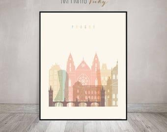 Prague print, Poster, Wall art, Prague skyline, Czech Republic, City prints, Typography art, Home Decor, Digital Print, ArtPrintsVicky