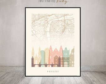 Prague City Map Print Skyline Poster | ArtPrintsVicky.com