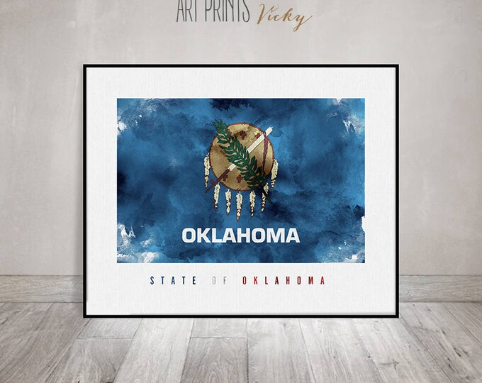 Oklahoma flag, watercolor art print, Oklahoma flag poster, Office decor, United States flag, travel poster, gift, home decor ArtPrintsVicky