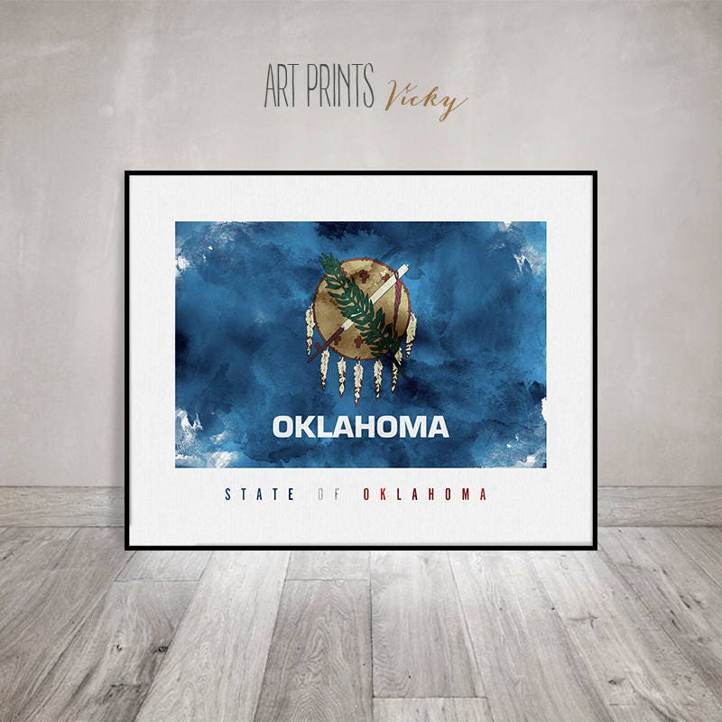 Oklahoma Flag Watercolor Art Print Oklahoma Flag Poster Office Decor United States Flag