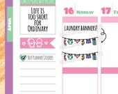 Cute Colourful Laundry Banner Planner Stickers (V130)